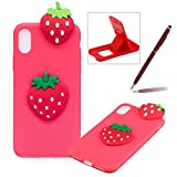 TPU Case for iPhone XS Max,Soft Rubber Cover for iPhone XS Max,Herzzer Ultra Slim Stylish 3D Strawberry Series Design Scratch Resistant Shock Absorbing Flexible Silicone Back Case