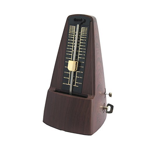 Traditional Triangle Mechanical Metronome with Bell, High Accuracy Tempo Range 40~208bpm for Musicians, Piano Players (Dark brown)