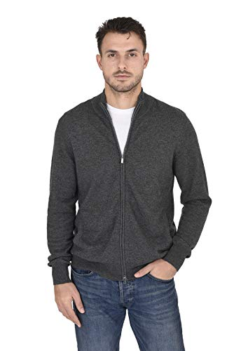 Cashmeren Men's Wool Cashmere Classic Knit Soft Full-Zip Mock Neck Pullover Sweater (Charcoal, X-Large)