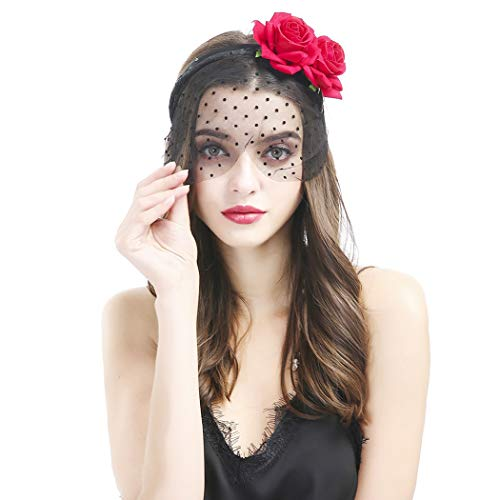 Coxeer Halloween Headband, New Halloween Girls Women Lace Mask Black Sexy Lady Lace Mask with Red Rose Flower Headband Mask for Masquerade Party