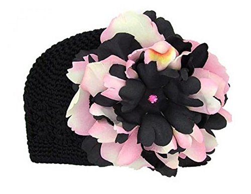 Black Crochet Hat with Pink Black Large Peony, Size: 12-18m (Peony Black Crochet)