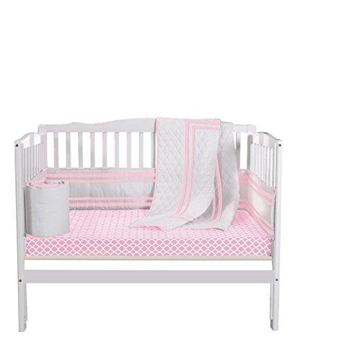 Baby Doll Bedding Soho Mini Crib/ Port-a-Crib Bedding Set with 100% cotton trellis design sheet, Pink