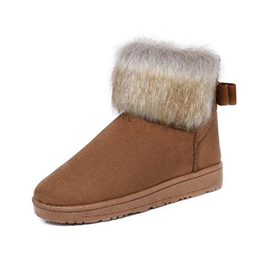 Brown Womens Winter Flat Clode® Warm Shoes Snow Lined Fur Rain Slipper Bowknot Cuff Boots Womens Boots Booties arypK1rd