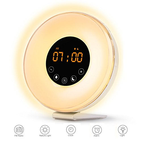 Wake Up Light Digital Alarm Clock with Sunrise Simulation - 6 Nature Sounds , FM Radio, Sunset Fading Night Light for Bedside and Kids, Sunrise Digital Alarm Clock for Heavy (I Sound Time Travel Alarm Clock)