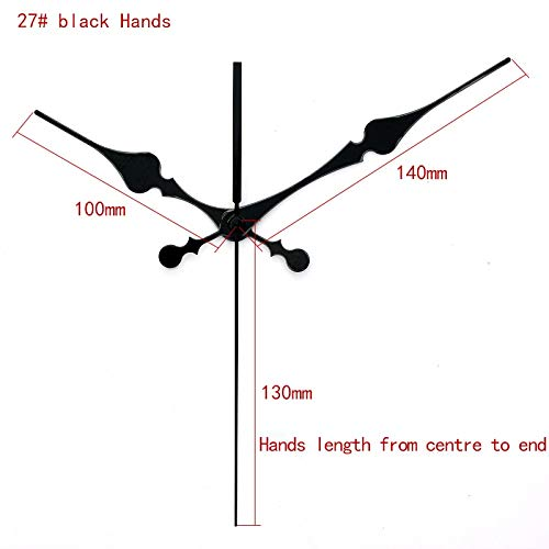 Maslin 100sets S Shaft Black Long Hands 27# Quartz Clock Accessory Clock Hands Metal Aluminum Material DIY Clock Kits