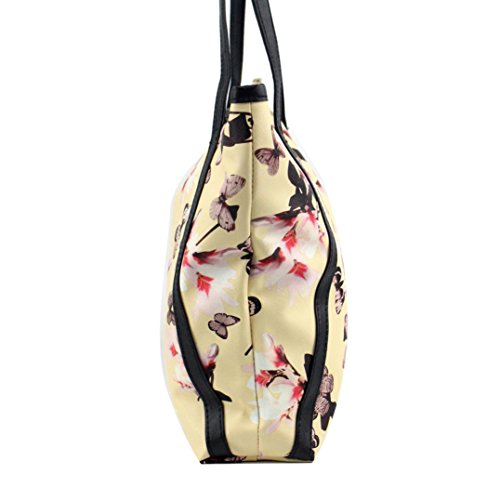 Shoulder Handbag Fashion Sunfei Women Leather Yellow Flowers Bags Messenger wBXxIqxzAn