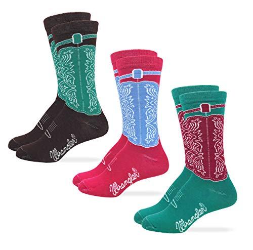 Wrangler Womens Western Cowgirl Crew Boot Socks 3 Pair Pack (Assorted 3, Women's Shoe Size 6-9 - Sock Size Medium)