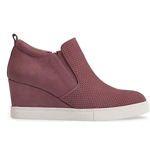 Side Zip Pumps - Womens Platform Wedge Sneakers Slip on Hollow Out High Heel Side Zip Pump Booties Brick Red