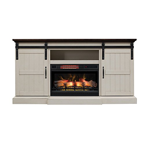 Hogan Electric Fireplace TV Stand with Logset, Weathered White (White Console With Fireplace Tv)