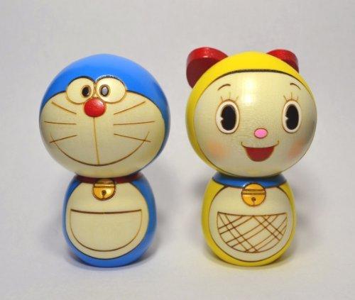 Japanese Character Set (Usaburo Japanese Kokeshi Characters Doll Set Doraemon & Sister Drami)