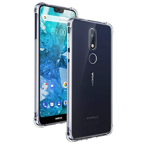 Qoosea Compatible with Nokia 7.1 Case Cover Clear Clear Ultra Slim Crystal Case for Nokia 7.1 Cover Transparent Soft