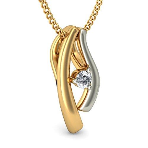 Or jaune 14K 0,07ct tw Round-cut-diamond (IJ | SI) Pendentif