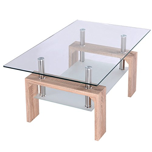 Price comparison product image Glass Coffee Table Wood w / Shelf Home Furniture
