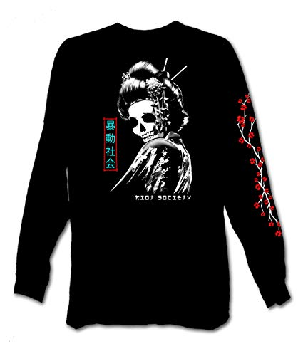 Riot Society Skull Geisha Mens Long Sleeve T-Shirt - Black, Small