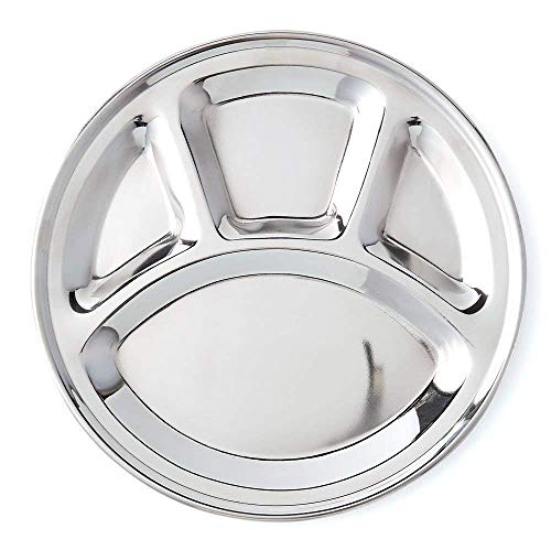 Stainless Steel Round Shape Thali Plate, 4 Compartment Thali, Mess Trays, Kids Lunch and Dinner or Every Day Use Silver Color Size 12.5 X 12.5 Inch, Easter Day/Mothers Day/Good Friday Gift ()
