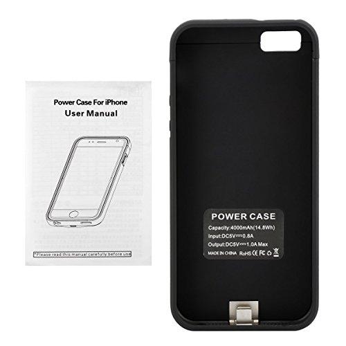 Happon For iPhone 5 5S 5C SE 4000mAh Battery Case Slim Rechargable Shock Absorbing Battery Backup Man for iPhone 5 5S 5C SE 4000mAh Charger Case Protective Juice Power Bank - Black by Happon