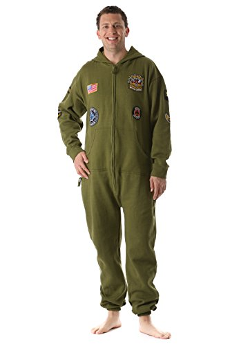 #followme 6454-OLV-S Jumpsuit Adult Onesie with Patches Pajamas