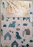 Himatsingka Blue Dogs Pattern 3 Piece Twin Flannel Sheet Set for Kids 100% Cotton Made in Turkey
