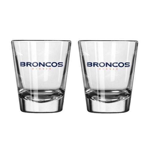 NFL Football Team Logo Satin Etch 2 oz. Shot Glasses | Collectible Shooter Glasses - Set of 2 (Broncos)