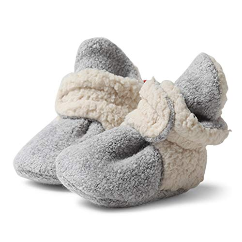 Zutano Cozie Fleece Baby Booties with Faux-Fur Lining, Unisex, for Newborns, Infants, and Toddlers, Heather Gray Furry, 3M