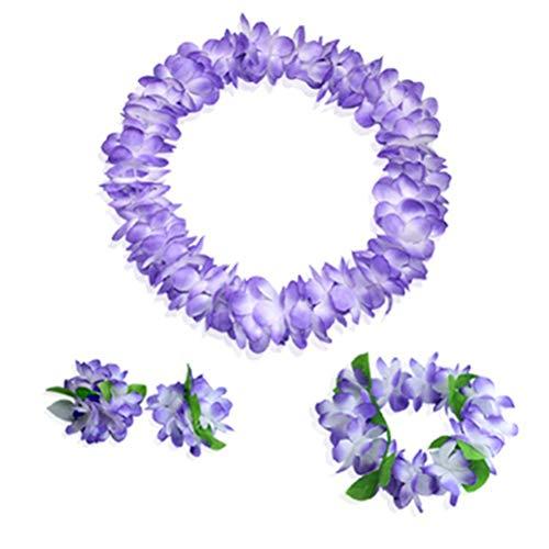 - Youkwer Hawaiian Flower Leis Jumbo Necklace Bracelets Headband Set,Hawaiian Leis Set Hawaii Wreath Lei Party Favors for Hawaiian Luau Party Decoration Supplies (Purple)