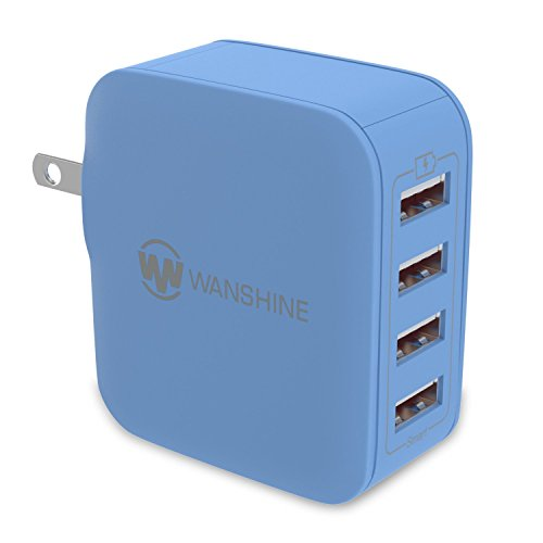 iPhone Charger, [31W/ 6.2A] Smart Multi-Port USB Travel Wall Charger by Wanshine for iPhone 8/ X/ 7/ 6/ 5, Samsung Galaxy S8/ S7/ S6 HUAWEI HTC Nexus Moto Blackberry, Charges Faster (Blue 4 Port)