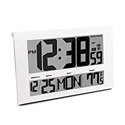 Marathon CL030025WH Commercial Grade Jumbo Atomic Wall Clock with 6 Time Zones, Indoor Temperature & Date, Color-White, 16 X 11 X 1,
