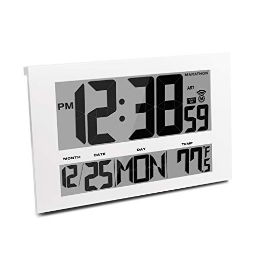 Hanging Atomic - Marathon CL030025WH Commercial Grade Jumbo Atomic Wall Clock with 6 Time Zones, Indoor Temperature & Date, Color-White.