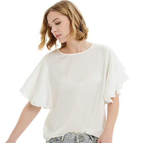 Basic Model Women's Summer Short Sleeve Tops Batwing Sleeve Ruffle Sleeve Tee Tops Blouse ()