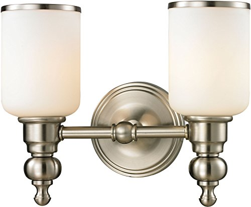 Elk Lighting 11581/2 Bristol Collection 2 Bath Light, Brushed Nickel