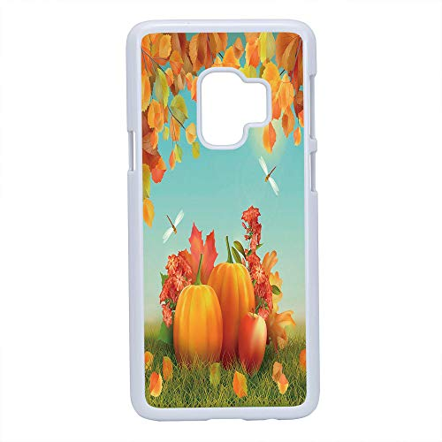 (Cell Phone Case Compatible Samsung Galaxy S9,Harvest - Hard Plastic Phone Case/White - Fall Season Yield Thanksgiving Image Fallen Leaves Branches Pumpkins Decorative)