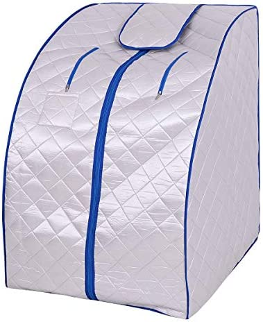 Giantex Portable Far Infrared Spa Sauna Full Body Slimming Weight Loss Negative Ion Detox Therapy in Home Personal Sauna w Heating Foot Pad and Folding Chair Silver