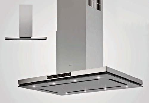 Silverline Virgo Isola Premium VII 994 S Isla Campana/90 cm/Acero inoxidable/cristal negro: Amazon.es: Grandes electrodomésticos
