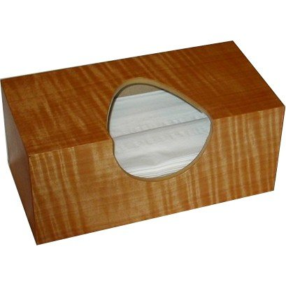 Wooden Tissue Box Cover In Tiger Fiddleback Anigre Veneer Rectangular Regular Size. (Puffs Opening without (Homemade Peacock Halloween Costume Ideas)