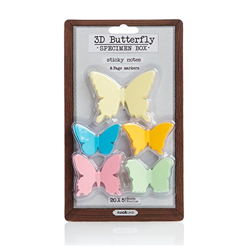 Suck UK 3D Butterfly Sticky Notes Multipack - Adhesive Paper Memo -