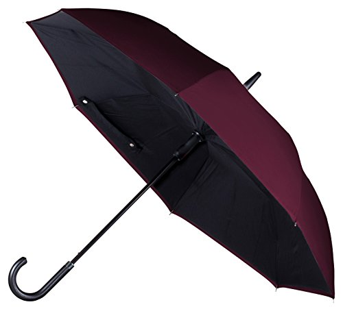 ANYWEATHER Reversible Inverted Automatic Open Umbrella Leather J Handle, Large, Bordeaux Red