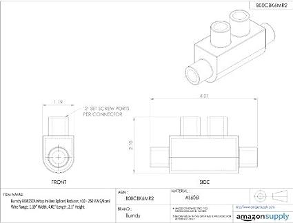Burndy Bisr250 Unitap In Line Splicerreducer 10 250 Awgkcmil Wire