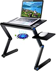 Adjustable Laptop Stand Multi-Angle with Cooling Fans & Mouse Pad Side, Foldable Portable Laptop Riser for Desk/Bed PC/MacBook for Home Office School