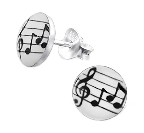 Music Note Earrings Round Studs Posts Logo Children Little Girls Sterling Silver 925 (E19783) - Sterling Silver Round Music