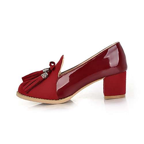 AmoonyFashion Girls Closed Round Toe Kitten Heel Chunky Heels PU Frosted Solid Pumps with Bowknot Red W4JSuorI