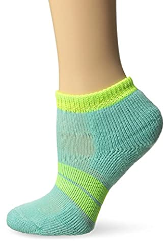 Thorlo 84n Micro-Mini Crew Sock, Spearmint/Electric Yellow, L (Women's: 9.5-11.5) - 84n Runner