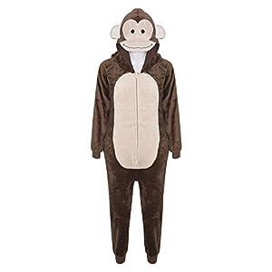 Kids Girls Boys Onesie Soft Fluffy Monkey All In One Halloween Costume 7-14 Yr