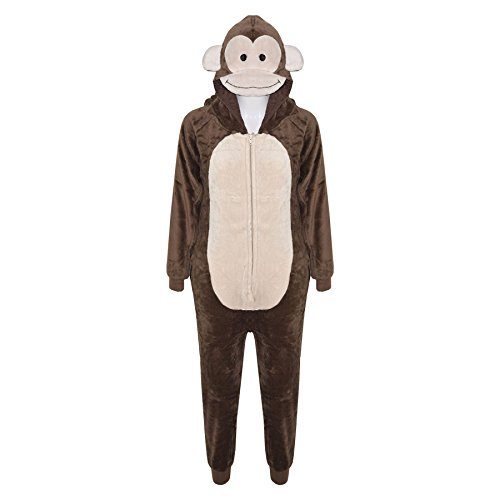 Kids Girls Boys Onesie Soft Fluffy Monkey All in One Halloween Costume 7-14 Yr]()