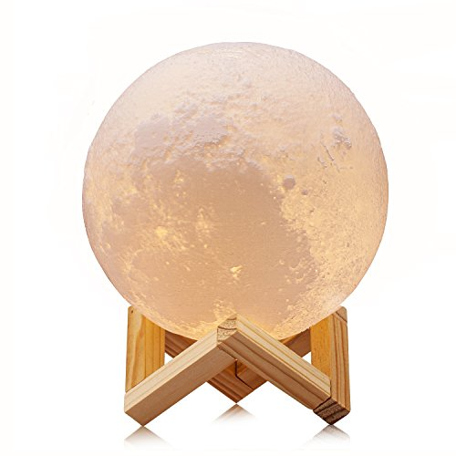 ACED 5.9Inch Luna Moon Lamp Night Light 3D Touch Sensor LED Bedside Table Lamp Dimmable Baby Nursery Lamp Rechargeable Battery Operated Desk Lamps for Kid Bedroom Novelty Lights (Lamp Bedside Baby)