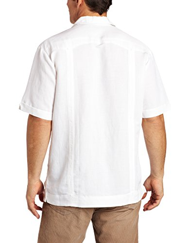 Cubavera Men's Short Sleeve Traditional Guayabera Shirt, Bright White, Large
