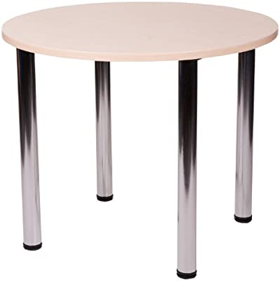 Netfurniture Pescara Round Bistro Table Chrome Legs, Beech 90cm