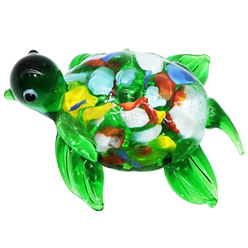 Glass Art Statue - Waltz&F Green Turtle Figurine Mini Animal Collectible Statue Art Glass Miniature Animals Collection, Dollhouse Miniatures,Size Approx 2.4