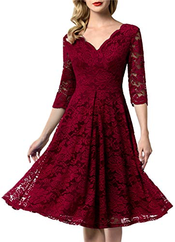 AONOUR 0056 Women's Vintage Floral Lace Bridesmaid Dress 3/4 Sleeve Wedding Party Midi Dress Dark Red L