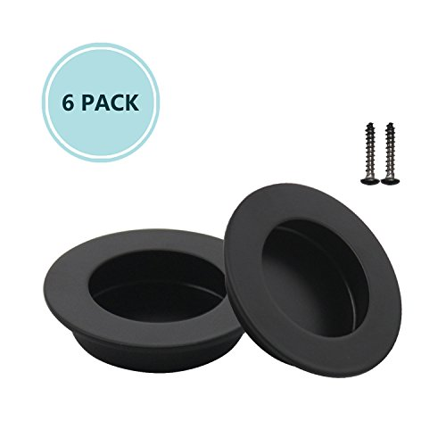 6 Pack Black Round 65mm/2-1/2'' Cabinet & Furniture Pulls Flushed Pulls Door Handles 304 Stainless Steel Finger Flushed Pulls Drawers Cabinet Recessed Knobs Hardware - Round Closet Door Pull Handle by Home Hardware Supply