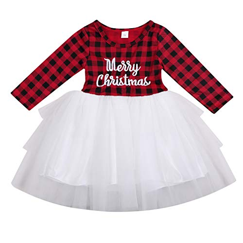 Kids Baby Girls Christmas Dress Clothes Merry Christmas Buffalo Plaid Tulle Lace Tutu Princess Dresses Outfit (Red Plaid, 18-24 Months) (Girl Merry Christmas)